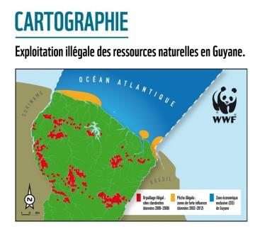 Carte des exploitations illégales de ressources en Guyane du WWF